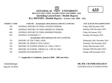 Annamalai University BA Time Table 2019Annamalai University BA Time Table 2019