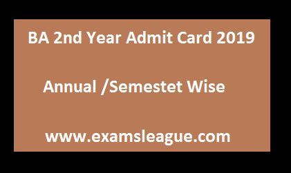 BA 2nd Year Admit Card 2019