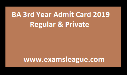 BA 3rd Year Admit Card 2019 Regular & Private