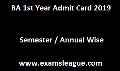 BA 1st Year Admit Card 2019