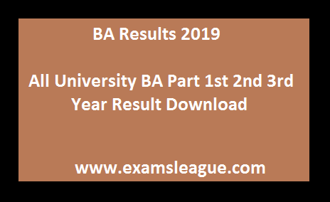 BA Results 2019 Download All University BA Part 1st 2nd 3rd Year Result