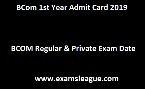 BCom 1st Year Admit Card 2019