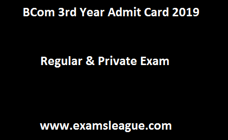 BCom 3rd Year Admit Card 2019
