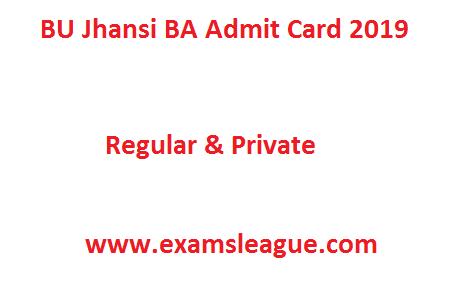 BU Jhansi BA Admit Card 2019