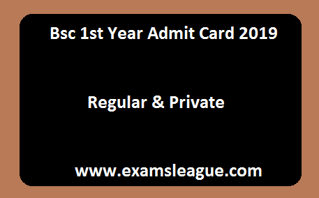 Bsc 1st Year Admit Card 2019 Regular & Private