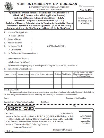 Burdwan University BA Admit Card 2019