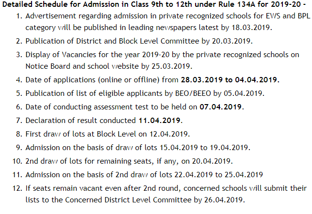 Haryana State Rule 134-A Class 2 to 8 Admission 2019