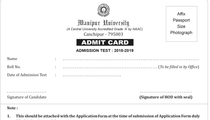 Manipur University Admit Card