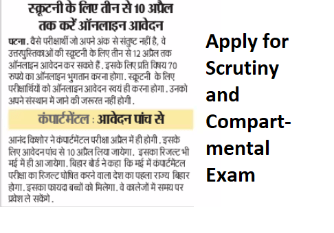 Bihar Board 12th Scrutiny Result 2019
