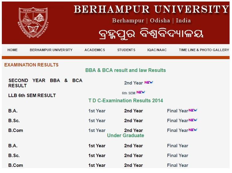 Berhampur University TDC +3 Result 2019