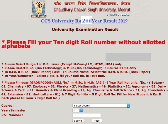 CCSU Meerut University BA 2nd Year Result 2019