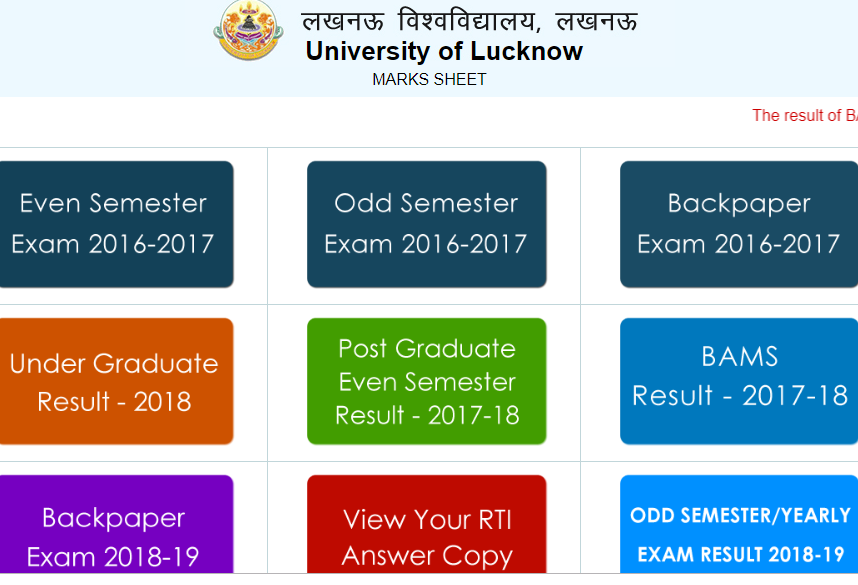 Lucknow University BA 6th Sem Result 2019