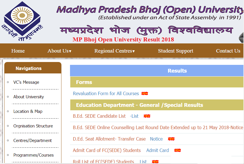 Bhoj Open University BCom Result 2019