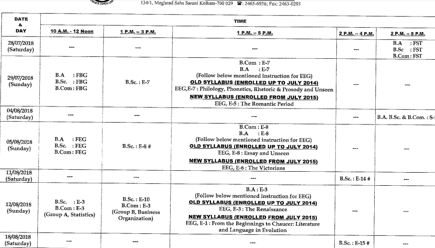 NSOU BA Bsc BComBPD 2nd Year Exam Routine 2019