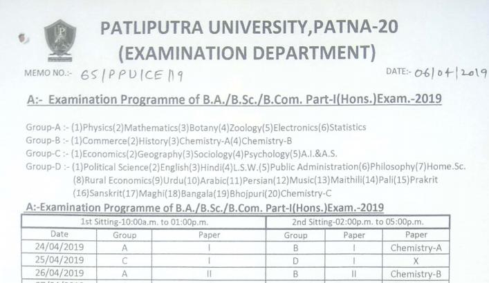 PPU Part 1 Exam Routine 2019