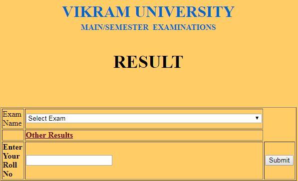 Vikram University 3rd Semester Result 2019