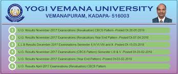 Yogi Vemana University 3rd Sem Result 2019