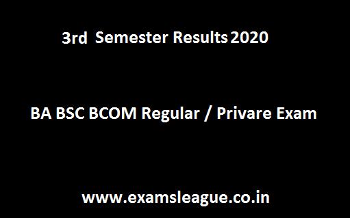 3rd Semester Result 2020