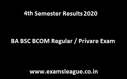 4th Sem BA BSC BCom Result 2019