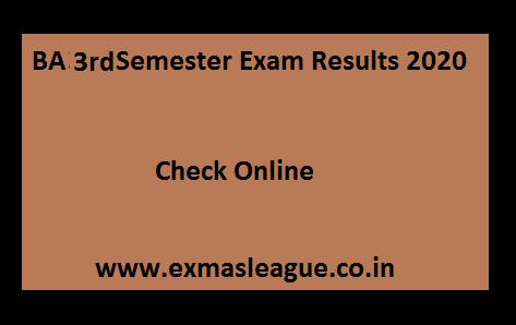 BA 3rd Semester Exam Result 2020