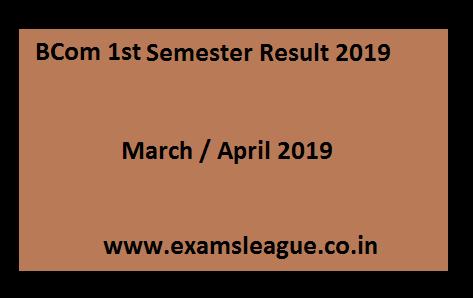 BCom 1st Sem Result 2020