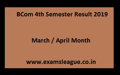BCom 4th Semester Result 2019