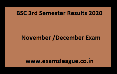 BSC 3rd Semester Results 2020