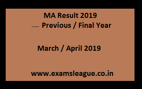 MA Result 2019 Previous / Final Year