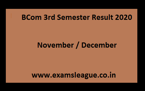 BCom 3rd Semester Result 2020