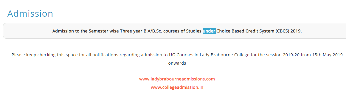 Lady Brabourne College BA BSC BCOM Merit List 2019