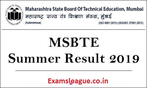 MSBTE Diploma Summer Result 2019