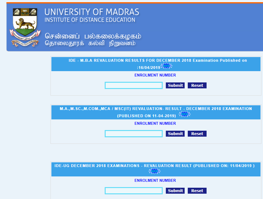 Madras University Revaluation Result 2019
