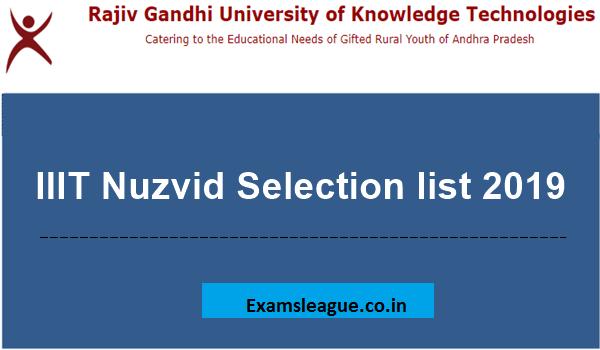 IIIT Nuzvid 2nd Selected List 2019