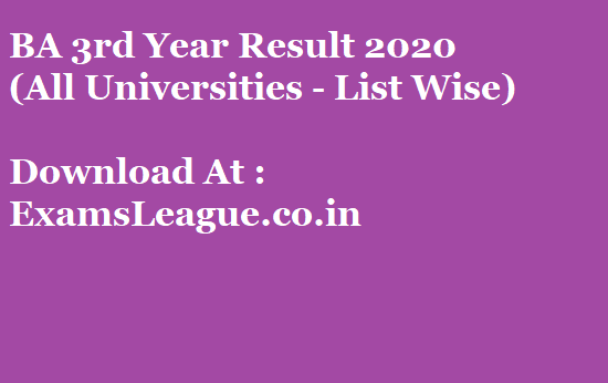 BA 3rd Year Result 2020