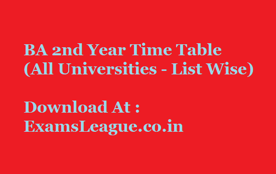 All Universities BA Part II Time Table 2020  Private, Regular NC (Non College)