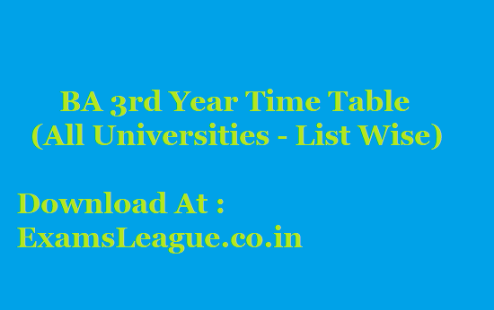 All University BA Final Year Time Table 2020 Regular, NC (Non-College) or Private