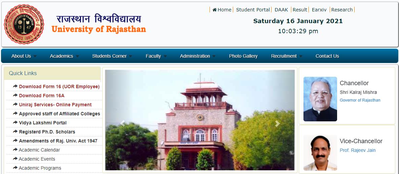 Rajasthan University Uniraj BCom 3rd / Final Year Time Table 2021 uniraj.ac.in