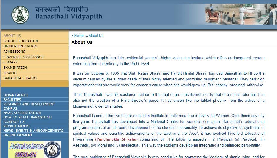Banasthali Vidyapeeth Time Table 2021