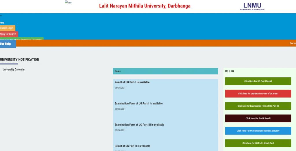 lnmuuniversity.in Part 1 Result 2021