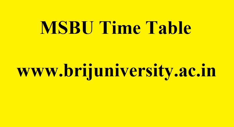 MSBU Time Table 2021